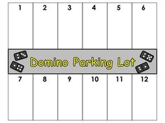 """Students place dominos in """"parking spot"""" if the sum of the dots add-up to that number."""