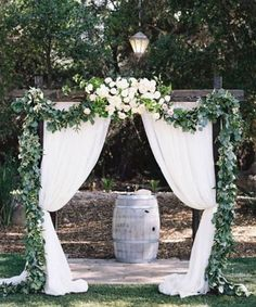 Photographer: Jen Wojcik Photography, Event Planner: Rustic Events; Chic outdoor white and green wedding ceremony decor
