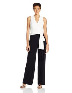 Trina Turk Women's Moore Carmel Crepe Jumpsuit, Black/Whitewash, 4. Sleeveless. Removable fringe scarf.
