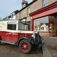 Beauly Gallery with our van in the foreground.  We are on the High Street in Beauly, please come and visit.  We have a regularly changing art exhibitions of local Scottish artists and sell beautiful handmade goods.
