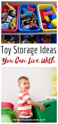 "Twin Cities Kids Club Blogs: Toy Storage Ideas You Can Live With - When you have kids, their ""stuff"" starts to take over your whole house, especially toys. Once their toys are everywhere, it can begin to feel overwhelming and sometimes cluttered. It is essential to have toy storage that you can live with to avoid feeling overwhelmed. #toy #toys #toystorage #toystorageideas #kidsplay #kidsgame"