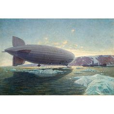 Graf Zeppelin,1930's, by Alexander Kircher.   Depicting a scene of the LZ-127 GRAF ZEPPELIN unloading passengers being ferried between it and the Russian icebreaker Malygin off Franz Josef Land during its famous Arctic voyage in 1931.