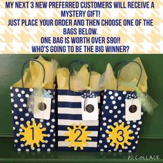 Place an order as a PC and choose a mystery gift!! Each bag contains a mini facial along with another mystery gift. One bag is worth over $90!! Order at tsasse.myrandf.com Hurry! This offer ends August 31st!