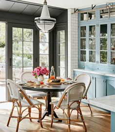 The Sweet Breakfast Nook Also Has Great Views Of Garden And Is Right Inside Large Kitchen Dont Bistro Chairs Tie In Nicely With Blue