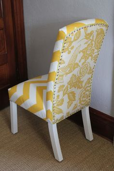 Back on Festive Road: Office Makeover Part 4: Chair After -- I love that the back is a different but matching pattern!