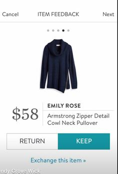 Love this sweater!! Emily Rose Armstrong Zipper Detail Cowl Neck Pullover - Stitch Fix 2016