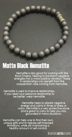 Mens Jewelry. Hematite (Grounding   Balance   Detoxifying) is used to improve relationships. It absorbs negative #energy and calms. #Hematite is a very protective stone and can help one to find your own, unique gifts and to release self-imposed limitations. #Love #Beaded #Bracelet #Yoga #Chakra #Mala #Stretch #Meditation #handmade #Jewelry #Energy #Healing #Crystals #Stacks #pulseiras #Bijoux #Handmade #Reiki #Mala #Buddhist #Charm #Mens #Womens….