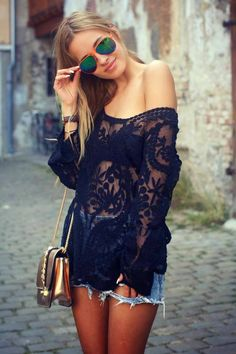 Black lacey tunic top and distressed mini shorts