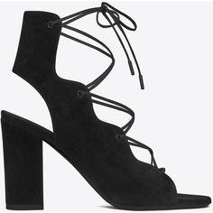 Saint Laurent Babies 90 Cage Sandal ($710) ❤ liked on Polyvore featuring shoes, sandals, yves saint laurent shoes, square toe shoes, caged shoes, lace up sandals and black sandals
