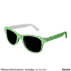 Whimsical floral pattern - green&gray sunglasses