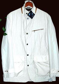 Paul&Shark Yachting Men's Off White Suede Trim Italy Coat Jacket Sz XL $1035  #PaulSharkYachting #BasicJacket