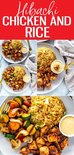 This Hibachi Chicken is just like the kind you get at Benihana - it's a delicious Japanese-inspired dish served with fried rice and sautéed vegetables Hibatchi Recipes, Grilling Recipes, Asian Recipes, Chicken Recipes, Cooking Recipes, Delicious Recipes, Yummy Food, Vegetable Crisps, Vegetable Recipes