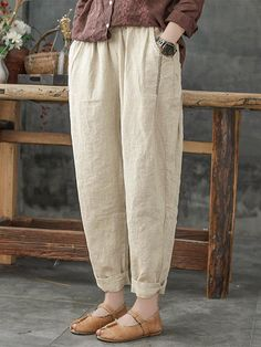 O-NEWE Solid Color Loose Plus Size Harem Pants with Pockets - Newchic (affiliate) Fashion Mode, Fashion Pants, Fashion Outfits, Latest Fashion, Womens Fashion, Fashion Trends, Cotton Pants, Linen Pants, Linen Tunic