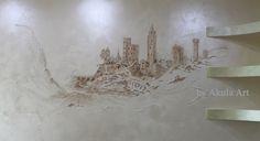 """Барельеф """"Город"""" на стене, размер 2 х1 м. Барельеф тонированный акриловыми красками. Вскрыт полупрозрачным  воском."""