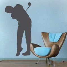 Golfer Wall Art Design- Decorate your office, bedroom, living room with Golfer Wall Decal. Show off your favorite sport with this design. This design Office Wall Decals, Sports Wall Decals, Wall Decals For Bedroom, Large Wall Murals, Mural Wall Art, Vinyl Wall Decals, 3d Butterfly Wall Decor, Butterfly Wall Stickers, Wall Art Designs