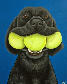 Black Labrador Dog and Tennis Balls Fine Art Print by carolscanvas