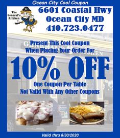 Save OFF your next dining experience at General's Kitchen in Ocean City MD with your . Ocean City Md, Maryland, Coupons, Dining, Cool Stuff, Kitchen, Food, Cooking, Kitchens
