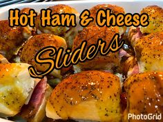 A great leftover Easter ham recipe! These are not your ordinary ham and cheese sandwiches. Delicious ham and cheese on Hawaiian rolls topped with a tasty mustard butter poppy sauce. All hot and melty and . Ham Cheese Sliders, Ham And Cheese, Easy Chicken Recipes, Easy Recipes, Berry Compote, Parmesan Crusted Chicken, Lebanese Recipes, Getting Hungry, Pasta