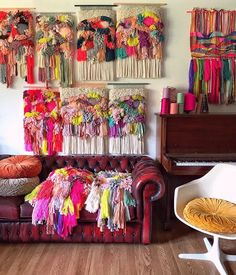 Updates from jujujust on Etsy Weaving Projects, Weaving Art, Hand Weaving, Weaving Textiles, Alternative Kunst, Colorful Tapestry, M Craft, Woven Wall Hanging, Handmade Home