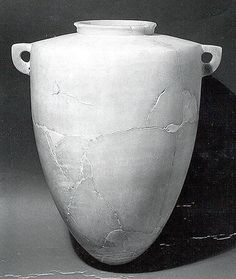 Alabaster Jar of Egyptianizing type from Nimrud Mesopotamia. Neo-Assyrian ca. 7th C. BCE Calcite  17.5 x 13.5 in.