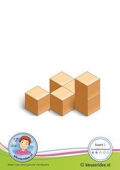 Bouwkaart 8 moeilijkheidsgraad 2 voor kleuters, kleuteridee, Preschool card building blocks with toddlers 8, difficulty 2. Block Center, Block Area, Cube Pattern, Pattern Blocks, Math Patterns, Motor Planning, Lego, Montessori, Block Play