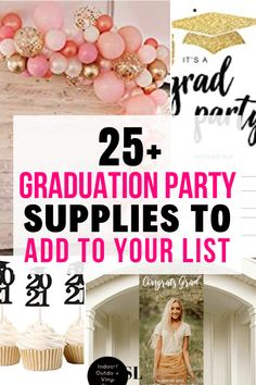these graduation party supplies are genius!! definitely things that i wouldn't have thought of. so helpful! Vintage Graduation Party, Outdoor Graduation Parties, Graduation Party Centerpieces, High School Graduation Gifts, Graduation Party Supplies, Graduation Decorations, Grad Parties, Graduation Ideas, Diy 2019