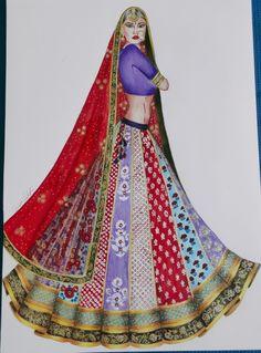 Wedding Dress Illustrations, Wedding Illustration, Fashion Illustration Sketches, Fashion Sketches, Fashion Design Drawings, Designs To Draw, Illustrators, Designer Dresses, Indian