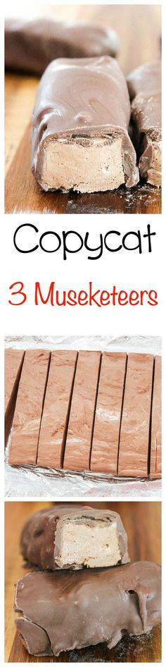 Copycat Three Musketeers Bar: Sweet and fluffy chocolate filling covered in rich milk chocolate. Your favorite candy bar, made with only TWO ingredients!