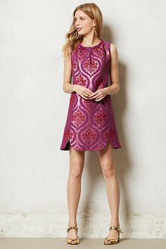 love the shaped hem and padded binding at the neck Rekha A-Line Dress #anthropologie