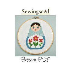 Russian Doll, Matryoshka, Nesting Doll Cross Stitch Pattern, INSTANT DOWNLOAD. $5.00, via Etsy.