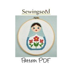 Russian Doll, Matryoshka, Nesting Doll Cross Stitch Pattern, INSTANT DOWNLOAD. $5.00, via Etsy.