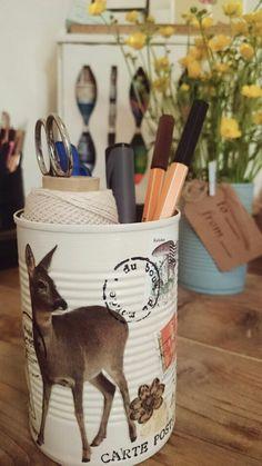 Idea riciclo: Portapenne da vaso di latta, deliziosa decorazione // decorated tin can