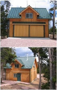 This customized version of the Bethany Country Garage was built in Colorado. Inexpensive plans, by architect Don Berg are available at Backr. Garage Exterior, Garage Shed, Garage House, Garage Plans, Garage Loft, Barn Garage, Dream Garage, Pole Barn Kits, Pole Barn Designs
