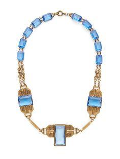 Czech Blue Crystal Geometric Station Necklace by House of Lavande on Gilt.com