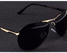 Vysoko polarizované značkové slnečné okuliare - čierno-zlaté