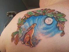 Moon Gazing Hare Scene Tattoo On Back Shoulder
