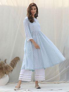 Sky Blue Polka Printed Cotton Kurta with White Palazzo and Scarf- Set of 3 Pakistani Casual Wear, Pakistani Dress Design, Pakistani Outfits, Indian Outfits, Neck Designs For Suits, Sleeves Designs For Dresses, Dress Designs, Simple Kurti Designs, Kurta Designs Women