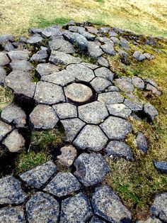 columnar jointing - the type of jointing that breaks rock, typically basalt, into columnar prisms. Usually the joints form a more or less distinct hexagonal pattern. These particular basalt columns were ground down by glaciers. (Photo by Judith B. Trimarchi, 2014, Iceland, starranchnm.com)