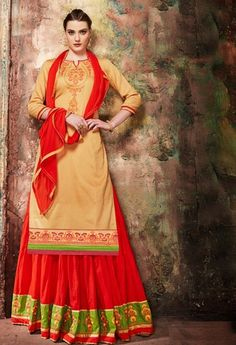 Traditional Party wear Cream Colour Jam cotton silk indo Western Suit Shop for Anarkali kurtas & dresses with ethnic motifs, floral prints, zari work, etc Indian Designer Suits, Designer Salwar Suits, Long Choli Lehenga, Latest Anarkali Suits, Western Suits, Party Kleidung, Suit Shop, Embroidered Silk, Cotton Silk