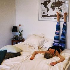Did you know? Legs-Up-the-Wall pose calms down your brain. Perfect when you can't sleep. Just like 6 other yoga poses. #yogalifestyle #yogapose #yoga