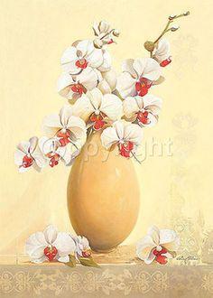 Gerard-Beauvoir-Un-Vase-blanc-Fertig-Bild-50x70-Wandbild-Orchidee