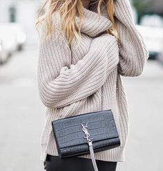 A cozy turtleneck and a YSL bag. Perfectly simple.