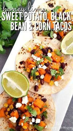Honey Lime Sweet Potato, Black Bean & Corn Vegetarian Tacos Are you looking for a delicious vegetarian recipe for Meatless Monday? These Honey Lime Sweet Potato, Black Bean and Corn Vegetarian Tacos are the best! Vegetarian Tacos, Vegetarian Recipes, Healthy Recipes, Veggie Tacos, Spinach Recipes, Veggie Food, Potato Recipes, Pork Recipes, Vegetable Recipes