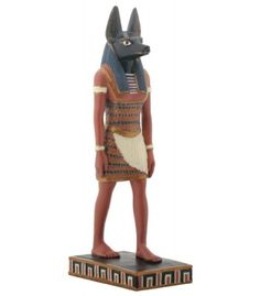 Anubis Egyptian God Color Statue - Anubis, God of the Dead, represented with a head of a jackal or simply as a jackal opened the road to the other world and presided over embalming ceremonies. $28.50 #anubis #egyptiangod #egyptiandecor