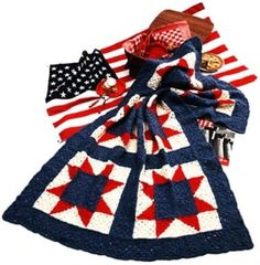 Patriotic Crochet – Red, White and Blue – 55 free patterns from Grandmother's Archives – Grandmother's Pattern Book – Christmas in July!
