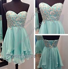 2015 gorgeous mint green sweetheart strapless short prom dress