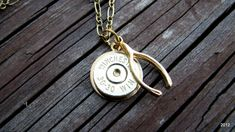 Lucky Shot Necklace - 30-30 Winchester Bullet Casing - Wishbone - Bullet Necklace- Rustic - Bullet Jewelry