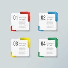 Pack of four colorful options for infographics Free Vector Web Design, Game Ui Design, Layout Design, Infographic Powerpoint, Free Infographic, Folders, Powerpoint Design Templates, Business Illustration, Presentation Design