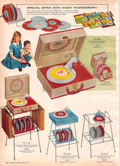 1956 Sears Christmas Book I had the suitcase style Phonograph when I was a kid. No I didn't grow up in the 50's but this was given to me in the 80's and I had it till the 90's when I was informed it was LAME in Middle school, LMAO!!!