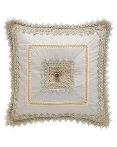 """Square Mitered Blue Silk Pillow, 18""""Sq."""